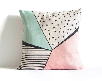 Pink Pillow Cover, Geometric Design Pillow Cover,  Pillow Covers, Throw Pillow, Cushion Cover, Decorative Pillow Cover, Cushion Cover