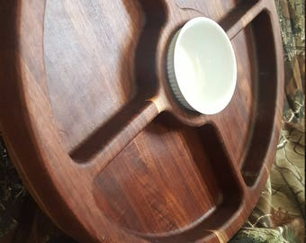 Handmade Walnut Five Section Serving Tray