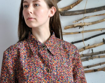 Colorful shirt 1990s 1980s vintage womens buttoms long blouse