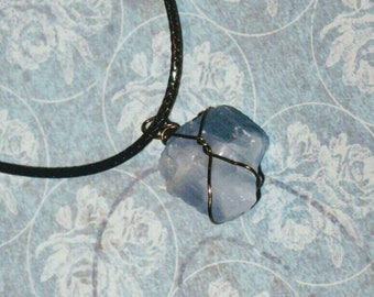 Wrapped sky blue crystal necklace