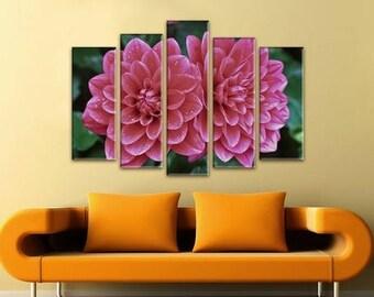 Extra Large Canvas Art, Interior Art, Living Room Decor, Flower Art, Wall decor 5 Panel Canvas, Print on Canvas, beautiful flowers