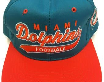 Vintage 90s Miami Dolphins NFL Football Starter Script Snapback Hat