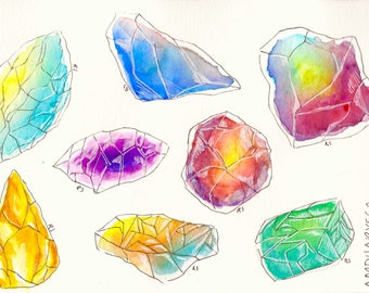 Watercolor Crystal Sticker Pack