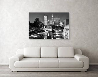 Indianapolis Skyline, Downtown City Skyline, Indiana, Black and White, Monochrome, Cityscape Photography, Gregory Ballos Fine Art