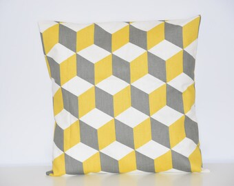 Cushion - 40 x 40 cm - fabric printed cubes - gray, mustard and white - Scandinavian decor