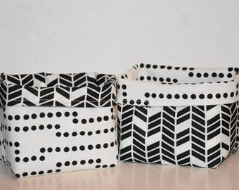 Set of 2 baskets of arrangement - fabrics graphic patterns - toned black and white