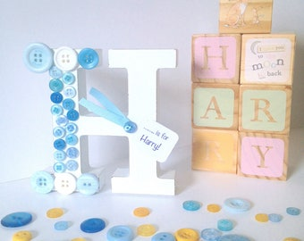 Vintage White Personalised Initial - Button Initial - Wooden Letter - Christening Gift - Birthday Gift - New Baby Gift - Personalised Letter