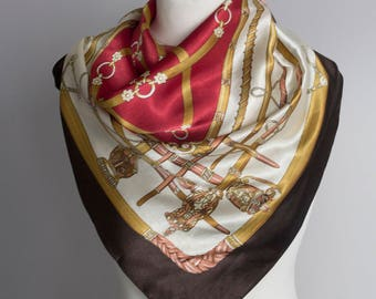"""vintage Square scarf, polyester scarf, fabric women scarf shawl 92cm / 36"""" brown red gold satin scarf equestrian scarf"""