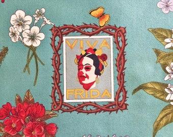 Viva Frida Fabric | Mexican | Folklorico | Blue | Flowers | Cactus | Sacred Hearts | Spanish
