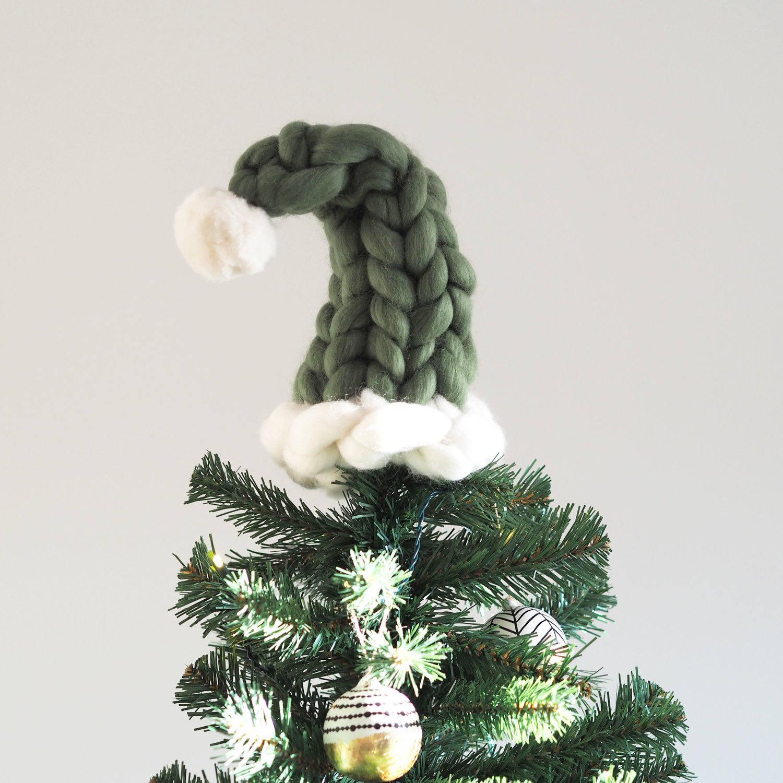 christmas tree topper chunky knit elf hat tree topper merino wool giant yarn - Santa Christmas Tree Topper