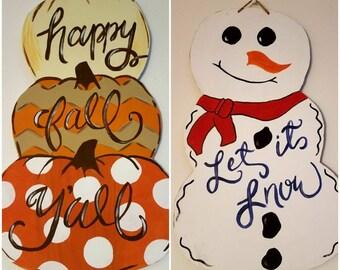 Happy Fall Y'all Let It Snow Door Hanger, Reversible Door Hanger