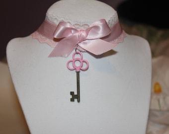 Pink Lace Key Choker
