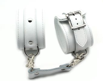 Bondage Ankle Cuffs, White Leather, BDSM cuffs, restraints, BDSM wrist cuffs, BDSM wrist cuffs  (mature)