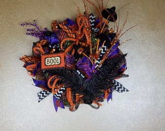 Halloween Witch Hats Wreath, Deco Mesh Halloween Wreath,Witch Hats Wreath, Front Door Wreath, Halloween Decor, Whimsical Wreath