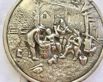 Jenson silvered handbag mirror with ornate pastoral scene