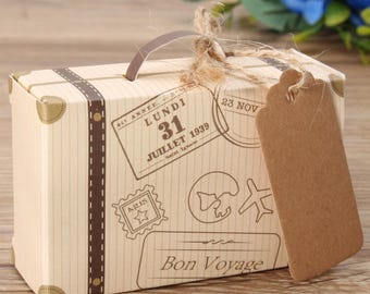 Suitcase wedding favours