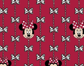 Disney Fabric, Minnie Fabric: Disney Minnie and Bows Monogram Flannel Red   100% cotton flannel fabric by the yard (SC130)