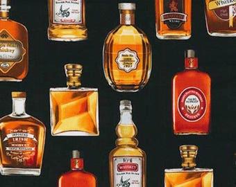 Liquor Fabric, Whiskey Fabric: Robert Kaufman Natural Cheers Whisky - Whiskey Bottles 100% cotton Fabric  (RK9)