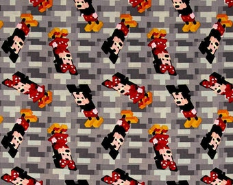 Disney Fabric: Disney Crossy Road Mickey And Minnie 100% cotton Fabric By The Yard (65726)