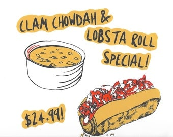"""Clam Chower and Lobster Roll Special 10""""X11"""" ScreenPrint Wall Art"""