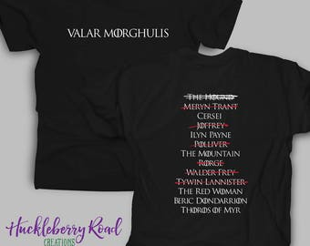 Arya's List Valar Morghulis Adult Tee Shirt Inspired by Game of Thrones