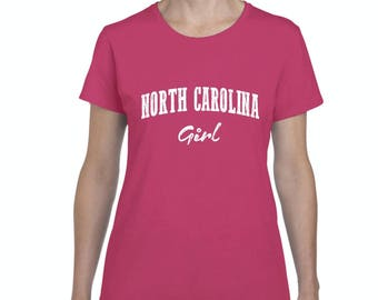 Free Shipping! Blue Tees NC North Carolina Flag Charlotte Map 49ers Home of University of NC UNC Girl Women's T-shirt Tee Clothes