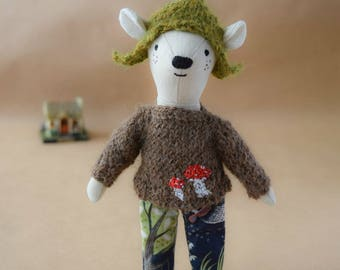 Mouse in a green hat, Handmade gift, Rag doll, gift for a boy