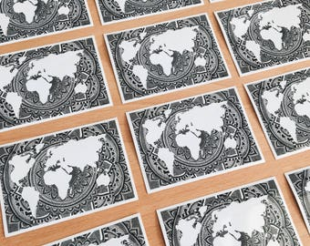World Map black& white stickers