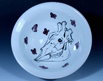 Bowl with Giraffe Skull and Violets