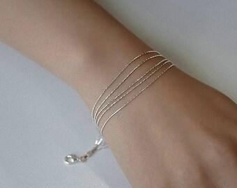 925 Sterling Silver Bracelet Multi Layer Chain Bracelets