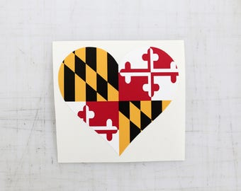 Set of Maryland Flag Stickers | Heart Sticker | MD Pride | Decal