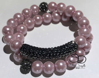 10mm Blush Pink Glass Pearl Beaded Bracelet Set with Black Pave Crystal tube and accents