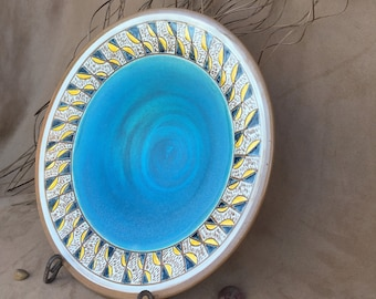 Turquoise Hand Carved Serving Bowl