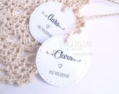 Round tags with sewing effect, tags in kraft paper, custom tags named, sewing effect tags, handmade labels, tag stitching