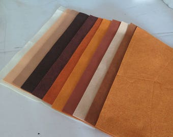 11 sheets 9 x 12 inch Wool Felt Blend in Buttermilk Basin Give Thanks Browns and Squashes