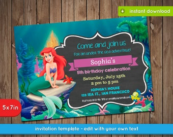 Little Mermaid Invitation - Printable birthday party invite - INSTANT PDF DOWNLOAD