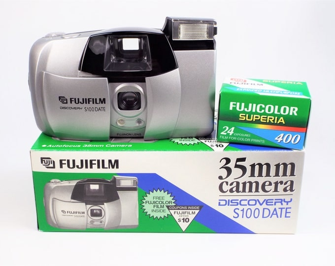Fujifilm Discovery S100 Date 35mm Compact Film Camera Outfit - New in the Box - Fujinon 32mm Autofocus Lens - Fujicolor Film Included! Nice!