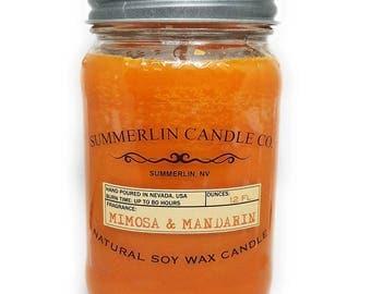 Summerlin Candle Company 12 Oz Soy Wax, Mason Jar Candle, Mimosa and Mandarin Fragrance