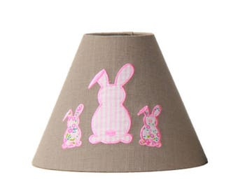 Child lamp shade - embroidered pink bunnies
