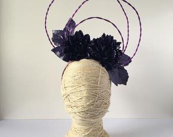 Purple Halo Floral Headband - Dahlia Flower - Racewear - Fascinator - Statement Headpiece - Fashions on the Fields inspo - Hooped Headpiece