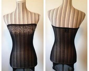 On Sale Vintage Sheer Black Lingerie Dress with Rhinestones