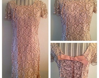 Anniversary Sale Gorgeous Vintage Lily Young Pink Lace Dress