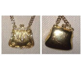 Anniversary Sale Vintage Rhinestone Purse Necklace