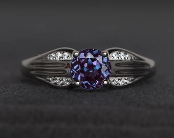 alexandrite ring promise ring June birthstone ring round cut color changing gemstone sterling silver ring