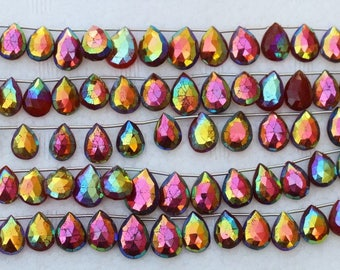 26 piece faceted pear COATED CARNELIAN briolette beads 10 -- 15 mm approx