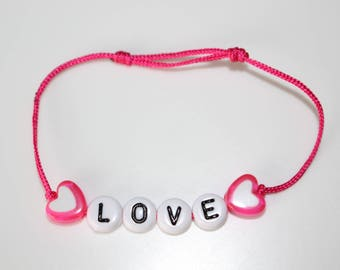 Love bracelet white pearls and hearts pink