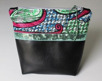 Clutch, pouch Wax and faux leather with glitter