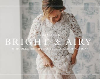 25 Bright And Airy Photoshop Actions Professional Photo Editing for Portraits, Newborns, Weddings By LouMarksPhoto