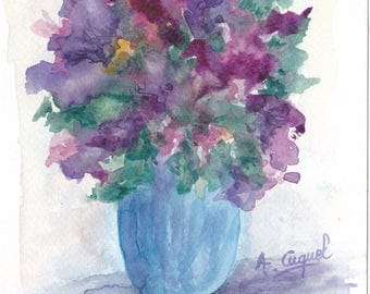 Bouquet fuzzy purple and green - original watercolor painting