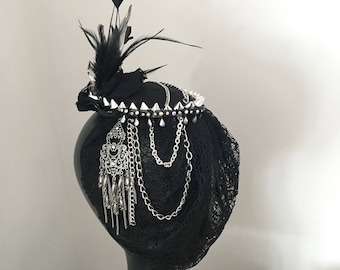 Black studded alternative fascinator